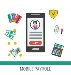 Concept mobile online payroll operation vector