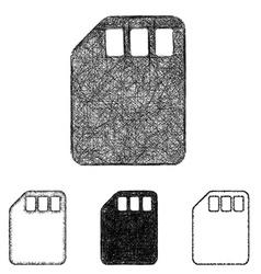 Memory card icon set - sketch line art vector