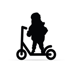 Child on scooter silhouette vector