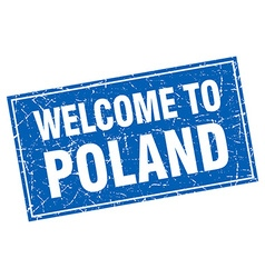 Poland blue square grunge welcome to stamp vector
