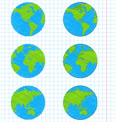 Doodle earth globes set vector