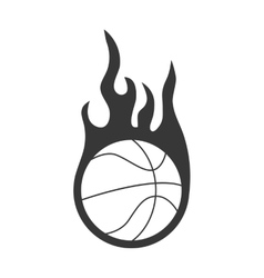 Ball and flame icon basketball design vector
