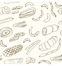 Sausages seamless pattern Hand drawn vector image