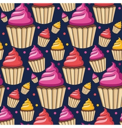 Seamless pattern of homemade cupcakes vector