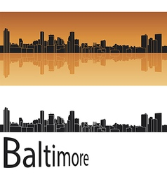 Baltimore skyline in orange background vector image vector image