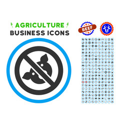 Banned pig rounded icon with set vector