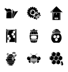 Beekeeping tools icons set simple style vector