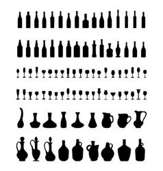 Bowls bottles glasses vector