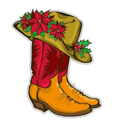 Christmas Cowboy boots and western hat with vector image vector image