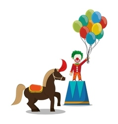 Clown and horse of carnival design vector