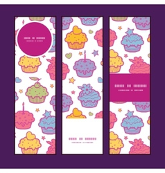 Colorful cupcake party vertical banners set vector
