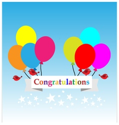Congratulations sign has balloons and brids vector