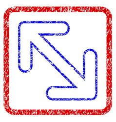 Flip arrows diagonal grunge framed icon vector