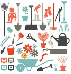 Gardening icons - tools set isolated on white vector