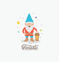 gnome fantastic character with hand lamp with vector image vector image