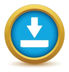 Gold download icon vector image