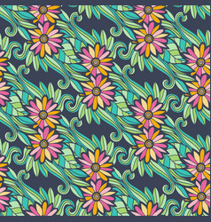 Modern floral seamless pattern with flowers and vector