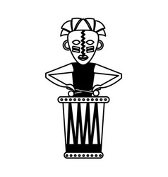 native african playing the drum vector image