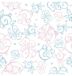 Pink blue pastel floral swirls seamless vector
