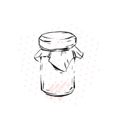 raspberry jam jar glass isolated on white vector image
