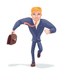 running businessman hurry for meeting character vector image vector image