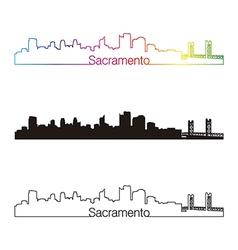 Sacramento skyline linear style with rainbow vector