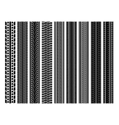 Seamless tire tracks tread marks set vector