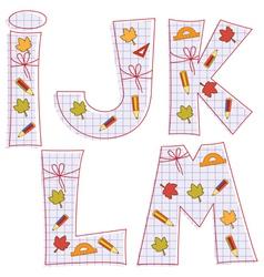 sheet alphabet Letter I J K L M vector image vector image