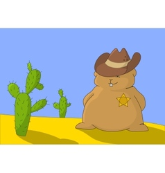 Sheriff marmot with two cactuses vector image vector image