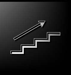 Stair with arrow gray 3d printed icon on vector