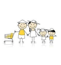 Summer holidays Happy family with shopping basket vector image vector image