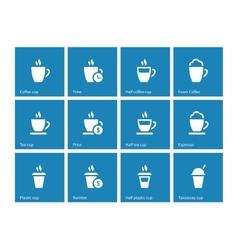 Tea mug icons on blue background vector
