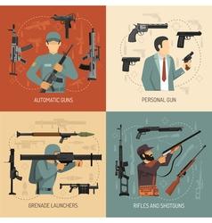 Weapons guns 2x2 design concept vector