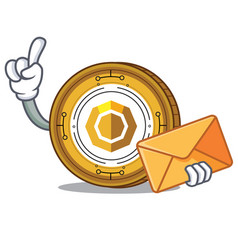 With envelope komodo coin character cartoon vector