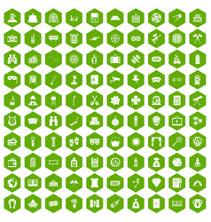 100 adult games icons hexagon green vector