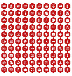 100 cyber security icons hexagon red vector image vector image