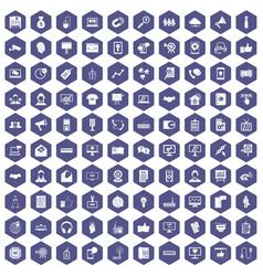 100 data exchange icons hexagon purple vector