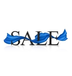 Black sale sign with blue silky ribbon vector