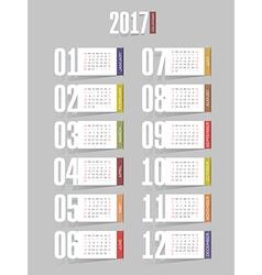 Calendar 2017 year Week starts from Sunday vector image
