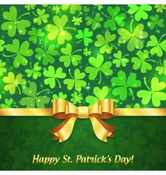 Green shining clovers Patricks Day greeting card vector image