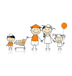 Summer holidays Happy family with shopping basket vector image
