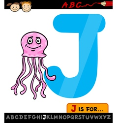 Letter j with jellyfish cartoon vector