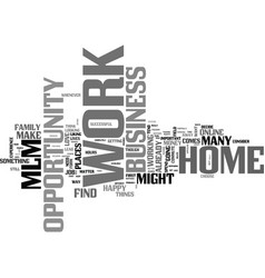 Work at home business opportunity mlm text word vector