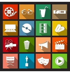 Cinema icons flat vector