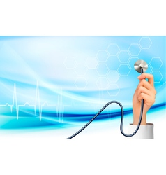 Background with hand holding a stethoscope vector