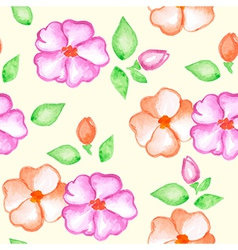 Seamless pattern with pink and orange flowers vector