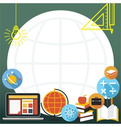 Education icons objects frame vector