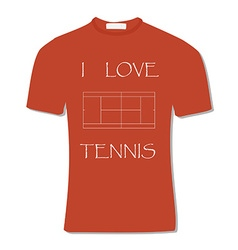 Orange t-shirt with text i love tennis vector