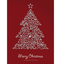 Merry christmas happy new year outline xmas tree vector