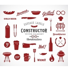 Sausage Flat Icons and Typography Design vector image